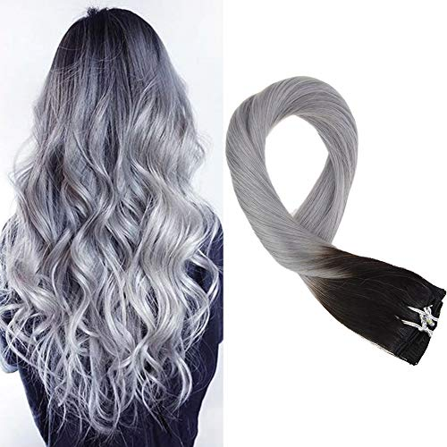 Mosoo 20 Inch Clip on Hair Extensions Human Hair Double Weft Hair Extensions Clip in #1B Fading to Grey Clip in Hair Extensions Straight 120g 7pcs Per Pack