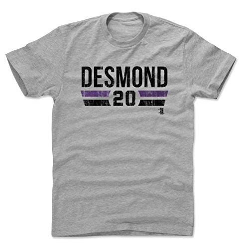 500 LEVEL Ian Desmond Cotton Shirt X-Large Heather Gray - Colorado Baseball Men's Apparel - Ian Desmond Colorado Font K