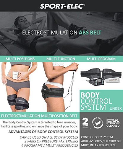 Abs and Body Workout Fitness Belt - FDA Cleared to Tone and Firm Abdominal Muscles - Electric Stimulation Muscle, Waist Trimmer - UNISEX (Electro Gel Included) by CC Venture