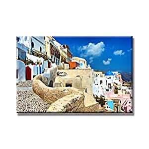 "Sunflower Art the Greek Town Landscapes Athens Aegean Sea Paintings Canvas Prints Wood Stretched Home Decor Office Decoration Ready To Hang 24x36"" (60x90cm)"