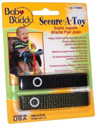 Baby Buddy Secure-A-Toy 2Ct Black-Olive (Pack Of 24)