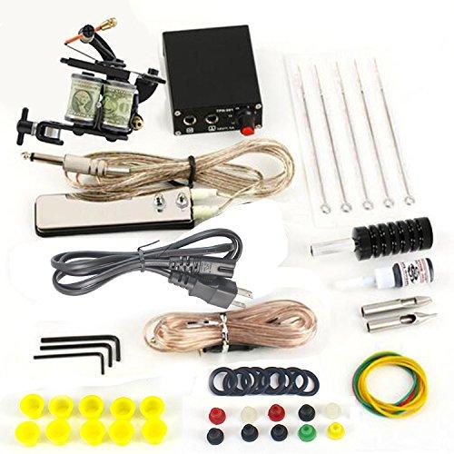 ITATOO Complete Tattoo Kit 1 Pro Machine Guns Power Supply Foot Pedal Needles Grips Tips (Tattoo Supplies Cheap)
