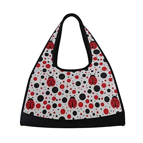 - HUVATT Gym Bag Cartoon Ladybug Polka Dots Women Yoga Canvas Duffel Bag Tennis Racket Tote Bags