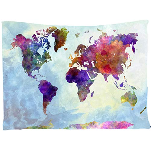 World Map Tapestry ,Wall Hanging Skull Art Decor For Home, Living Room Dorm Decor Wall Tapestry (World Map Tapestry) ()