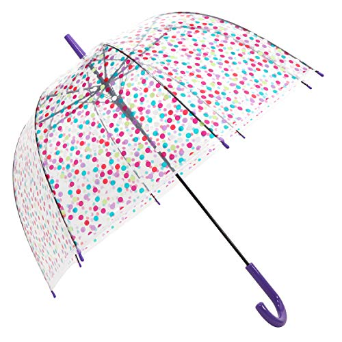 HAOCOO Polka Dot Clear Umbrella,Bubble Transparent Fashion Dome Auto Open Umbrella Windproof for Outdoor Weddings or Events (Purple) ()