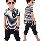 Vovotrade New Summer Children Clothing Boys Navy Striped T-shirt And Pants Suits