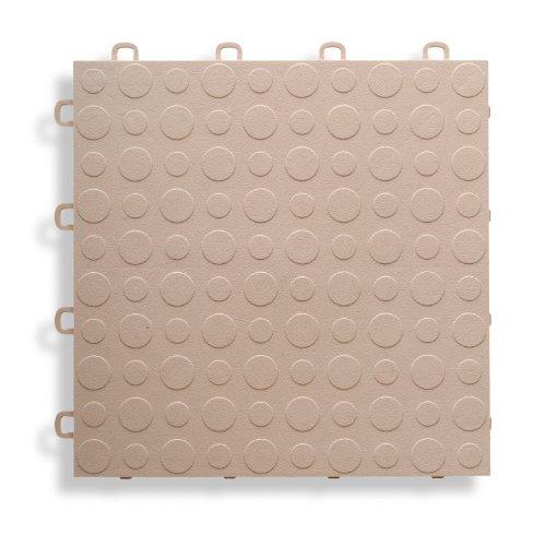 BlockTile B0US5130 Garage Flooring Interlocking Tiles Coin Top Pack, Beige, 30-Pack ()