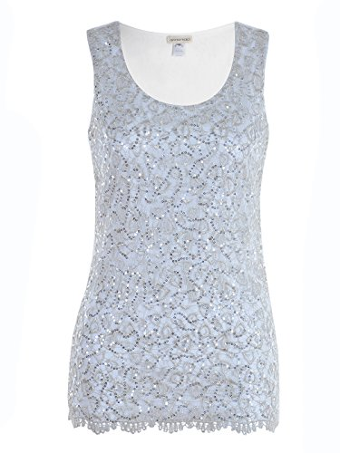 (Anna-Kaci Womens Casual Formal Embroidered Lace Sequin Sleeveless Shirt Tank Top, Grey, X-Large )