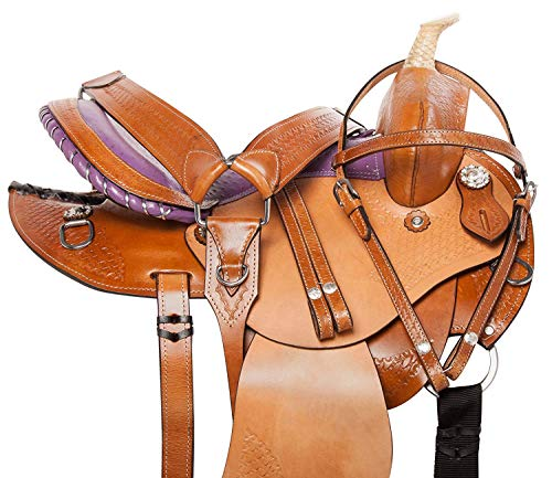 (ME Enterprises Round Skirt Western Youth Child Pony Miniature Barrel Racing Horse Saddles Premium Leather Pleasure Trail Matching Headstall, Breast Collar, Reins Size 10