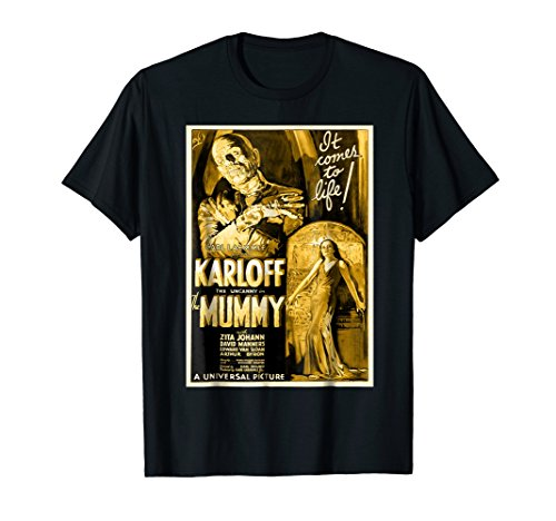 Mens Vintage Movie Poster T Shirt - Mummy Horror Movie Tee
