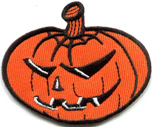 Jack o' lantern pumpkin Halloween Celtic Samhain embroidered applique iron-on patch S-1237