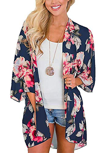 Lightweight Kimono - Womens Kimono Cardigan Beach Cover Up Floral Chiffon Loose Capes Blouse Top(Deep Blue,XL)
