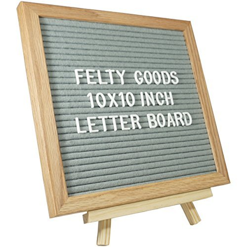 Grey Felt 10 Inch x 10 Inch Changeable Oak Letter Board / Included with Wooden Frame Letter Board are 344 Changeable White Letters, Numbers, and Characters as well as a Trimmer AND Wooden Stand - Nursery Sign Board