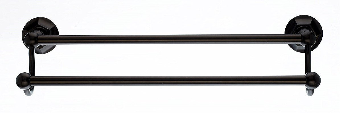 Top Knobs ED7ORBB Bath Edwardian Collection 18 Inch Double Towel Bar with Hex Backplate, Oil Rubbed Bronze Finish