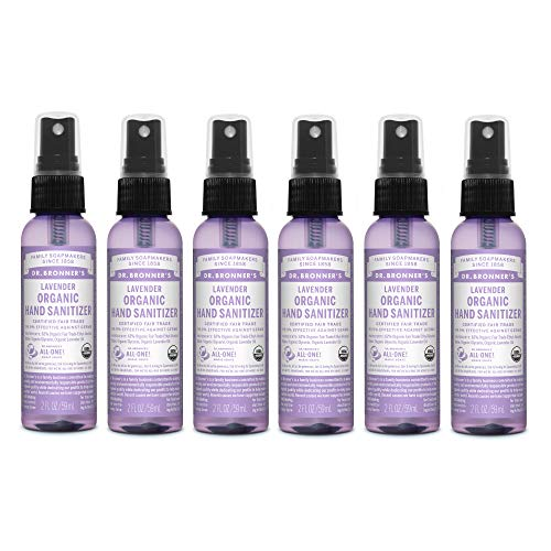 (Dr. Bronner's Organic Lavender Hand Sanitizer Spray (6 Pack) 2 oz. -Great for Travel and On-the-Go, Safe and Effective for All Ages)