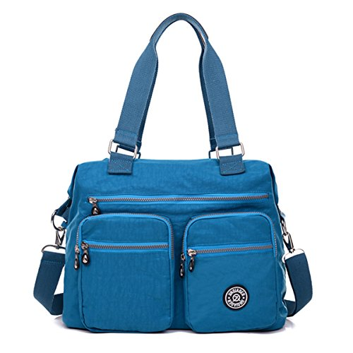 Shoulder Water Nylon Tiny Lightweight Blue Resistant Large Bag Chou Pockets Crossbody Bag Totes Ocean with wxxF8UIEq