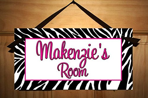 Girls Bedroom Hot Pink Zebra Print Personalized Name Sign DOOR SIGN DS0321
