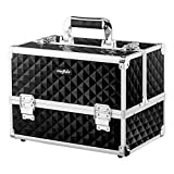 Mefeir Makeup Train Case 12.6'L w/Adjustable Dividers, 4 Trays and 2 Locks,Professional Travel Beauty Cosmetic Trolley Box,Ideal For Xmas New Year Valentine's Mother's Day Gift (Black)