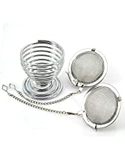 3pcs Tea Strainers, Tea Filter with Hanging Rack Holder for Loose Tea, 18/8 Stainless Steel Mesh Tea Interval Diffuser Set, Premium Tea Ball Infuser with Chain Hook for Seasoning Spices, Infuseur Fe Thé, Filtre à Thé Pour Le Thé En Vrac