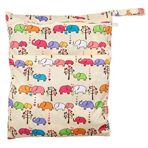 TRIXES Bolso para Pañales del Bebé Elefante Colorido Lavable para Llevar Cochecito Carrito Silleta Precioso Diseño Animal Unisex