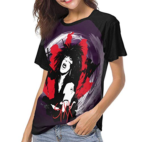 HYSLD Sixx A.M. Live is Beautiful Women's Casual Short Sleeve T-Shirts Crew Neck Wicking Baseball Tee Tops Black