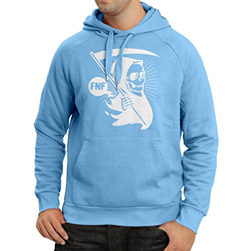 Hoodie Death with Sickle, The Grim Reaper - Halloween Outfits, Cosume Ideas (Large Blue Multi Color) -