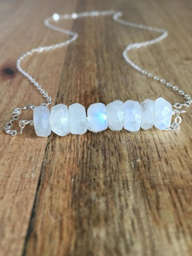 """Moonstone Necklace 16"""" Sterling Silver"""