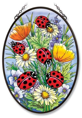- Amia Oval Window Decor Panel Hand-Painted Glass with Wrought Iron Frame, Ladybug Design, 12-1/2 by 17-1/2-Inch