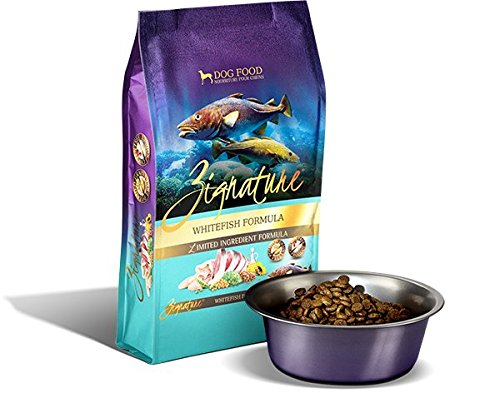 Zignature Whitefish Formula Dry Dog Food. 4 lb. Bag. Made from Whitefish in The Pacific Waters of Oregon, Washington, and Alaska.