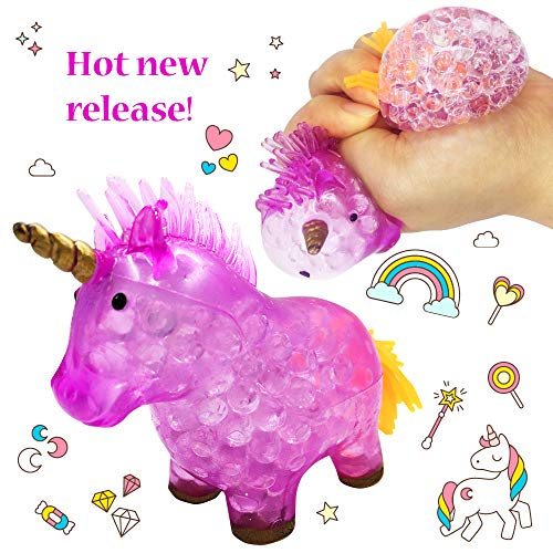 Squishy Unicorn Anti-Stress Toy - Squeeze Sensory Stretch Fidget Emoji Toys for Boys Girls Kids Toddlers Adults - Slime Theme Party Favors - ADHD Fidget Brain Reliever Hand Exercise Therapy - Purple
