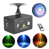 SUNY Mini Portable IR RG 20 Gobos Laser Aurora Projector Lights & RGB * 3W LED Background Mixing Cross Effect DJ Party Club Show Stage Lighting - 20RG