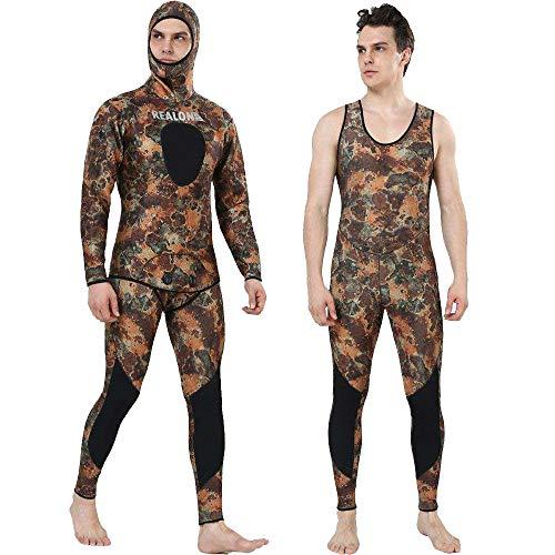REALON Wetsuit 3mm Full Spearfishing Suit Camo Scuba Diving Suit Hoodie Snorkeling Suits Men (sea camo 3mm, L)