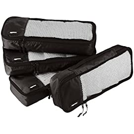 AmazonBasics 4 Piece Packing Travel Organizer Cubes Set - Slim, Black 7 Double zipper pulls make opening/closing simple and fast Mesh top panel for easy identification of contents, and ventilation Soft mesh won't damage delicate fabrics