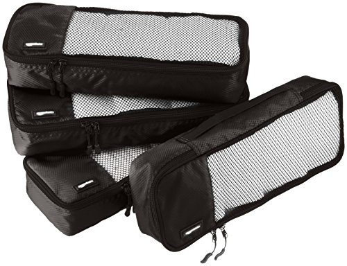 AmazonBasics 4 Piece Packing Travel Organizer Cubes Set - Slim 1 Double zipper pulls make opening/closing simple and fast Mesh top panel for easy identification of contents, and ventilation Soft mesh won't damage delicate fabrics