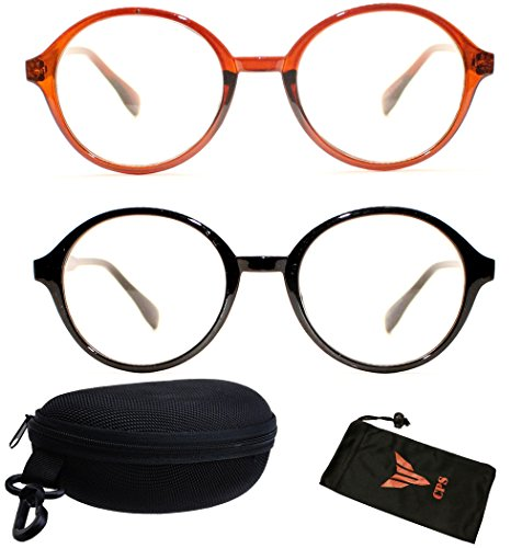 2 Pairs - Men And Women Round Plastic Reading Glasses Black & Brown Color Frame ( Black & Brown Frame/ Strength : +3.50 - Color Two Glasses Frames