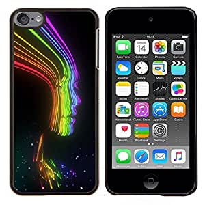 LECELL--Funda protectora / Cubierta / Piel For Apple iPod Touch 6 6th Touch6 -- Rayos Rainbow Negro señora Woman Chica --