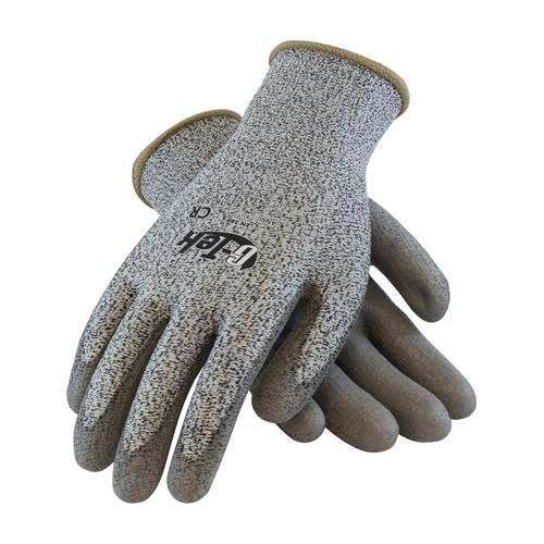 PIP 16-530/XL G-Tek Salt and Pepper Grip Gloves with HPPE Fiber, XL Size, Polyurethane, Gray (Pack of 12) ()
