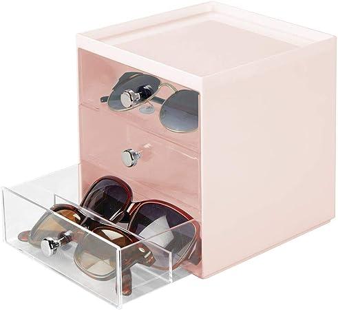 mDesign Caja para gafas de sol – Cajoneras de plástico con 3 cajones – Organizador de armarios para guardar todo tipo de gafas – rosa/transparente: Amazon.es: Hogar