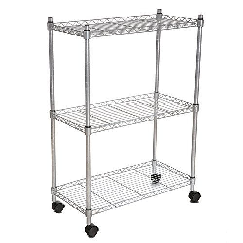 Wakrays 3-Tier Rolling Utility Cart For Bathroom Kitchen with Wheels ,Chrome (Silver)
