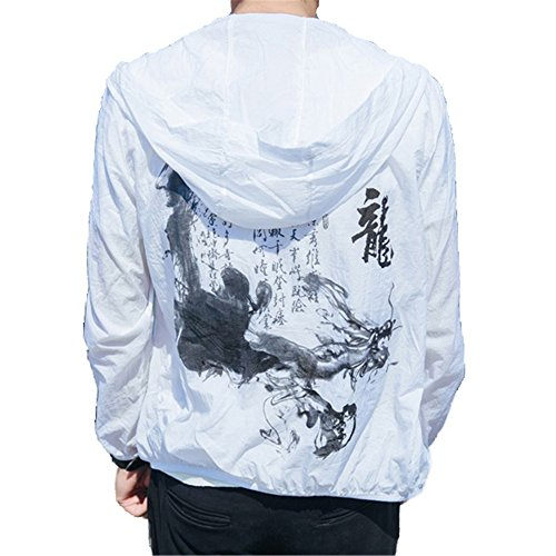 Allonly Men's Fashion Hoodie Zip-up Chinese Letter Printed Lightweight Windbreaker Jacket