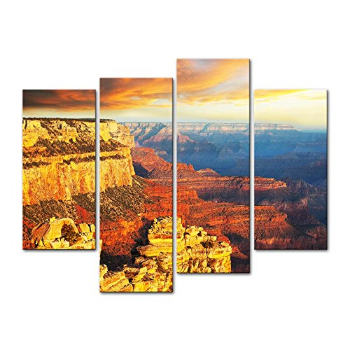 Wall Art Painting On Canvas Print Pictures 4 Pieces Amazing Scenery of Grand Canyon National Park at Sunset Arizona USA Landscape Canyon Framed Picture for Home Decoration Living Room Artwork