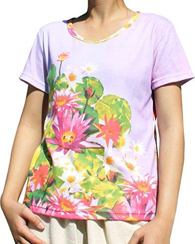 RaanPahMuang Asian Lotus Bud Explosion Print On Warm Cotton Ladies T-Shirt, X-Large (Cotton Thai Craft)
