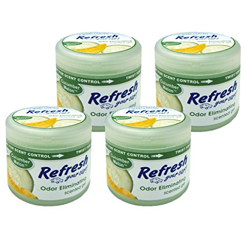 Refresh Your Car! 84926 Scented Gel Can, 4.5 oz Cucumber Melon, 4-Pack ()