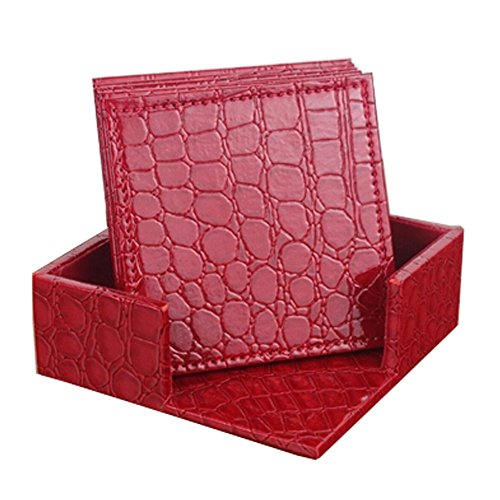 Set of 6 PU Leather Square CROCO Drink Coasters Cup Coaster with a Holder,Red