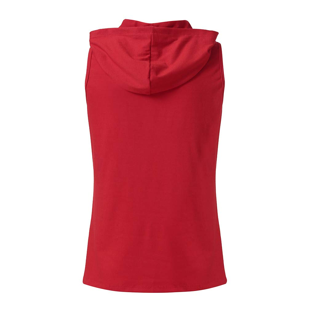 AOJIAN T Shirts for Men, Sleeveless Shirts Hooded Solid Bodybuilding Tunic Blouses Vest Tank Tops Red by AOJIAN (Image #2)