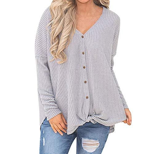 Womens Loose Tunic Blouse Knot Henley Tops Batwing Plain Shirts Knit Sweater Gray