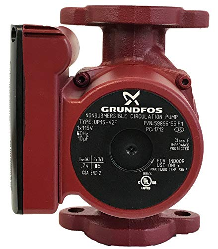 Grundfos 59896155 SuperBrute Recirculator Pump small RED (Best Outdoor Wood Boiler Reviews)
