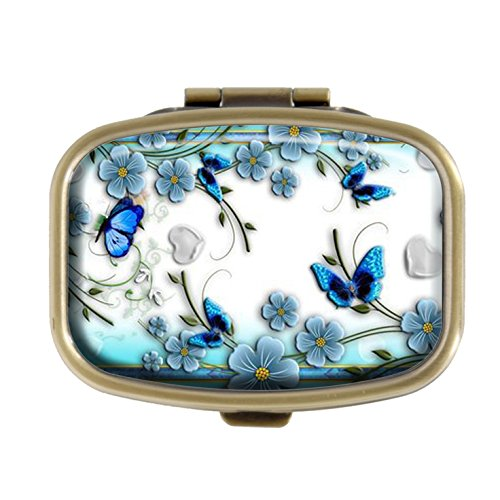 - Top A Butterfly Custom Personalized Square Pill box Decorative Box Vitamin Container Pocket Or Wallet (Butterfly-6)
