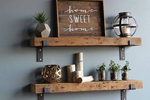 Urban Legacy Barn Wood Shelves Chunky Rustic Industrial - Amish Handcrafted in Lancaster County, PA - Set of Two | 40 Inches, (Genuine Salvaged/Reclaimed with Raw Metal Brackets) | by (Natural Wood) by Urban Legacy