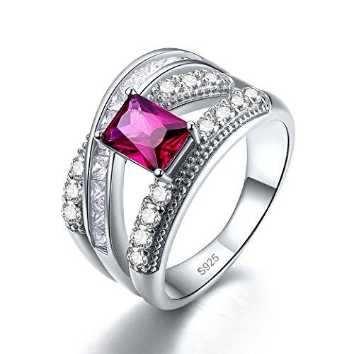Zetaur 925 Sterling Silver Created Ruby Spinel Emerald Cut CZ Crisscross Split Shank Wedding Engagement Eternity Band Ring for Women ()